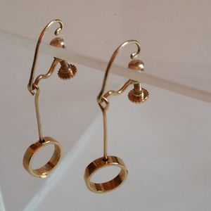 Vintage Screw Back Gold-tone Drop Earrings